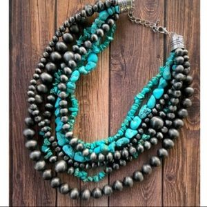 Jewelry - Turquoise & Navajo Pearl Beaded Necklace